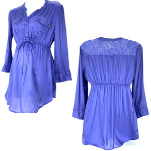 Motherhood Maternity Lace-Back Blouse Periwinkle-S
